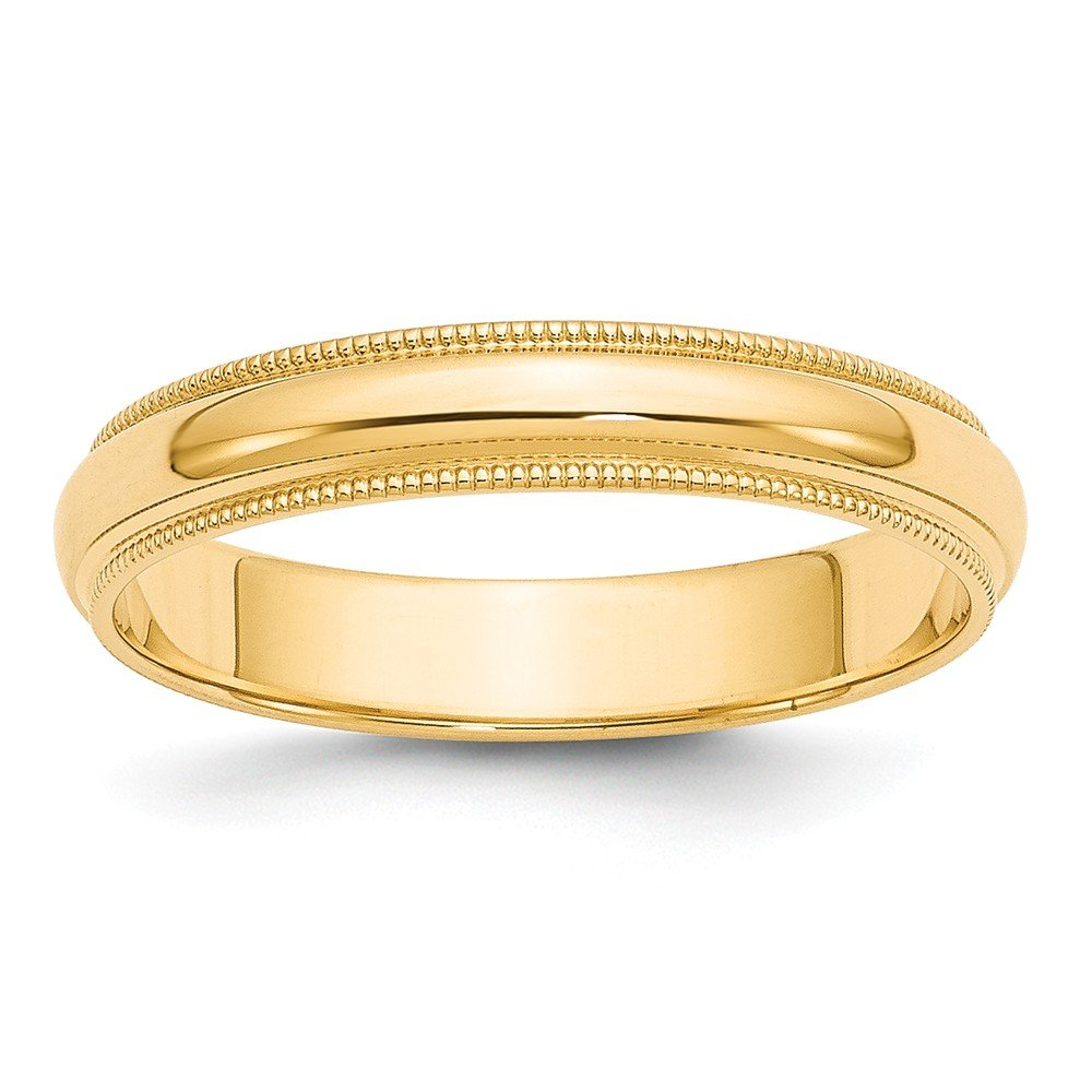 Perfect Jewelry Gift 14k 4mm Milgrain Half-Round Wedding Band by Jewelry Brothers Rings