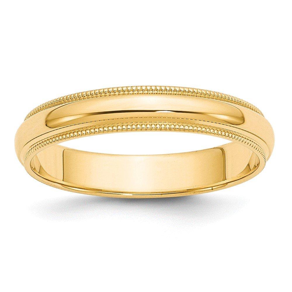 Perfect Jewelry Gift 14k 4mm Milgrain Half-Round Wedding Band