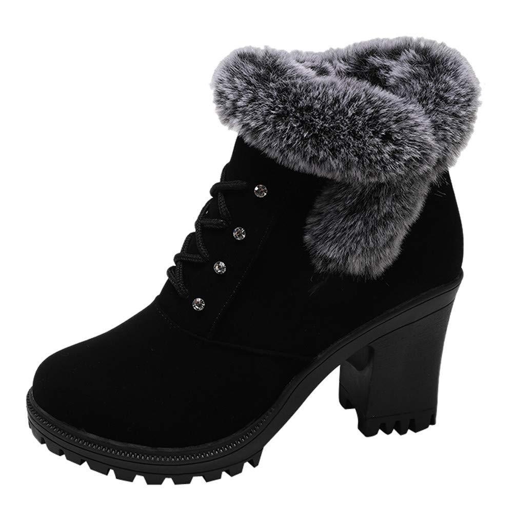 MYMYG Damen Stiefeletten Ankle Boots mit Halbhohe Blockabsatz Frauen High Heel Schuhe Martain Boot Leder Reiß verschluss Plus SAMT Runde Zehe Schuhe Chelsea Boots MYMYG-311058WOMEN