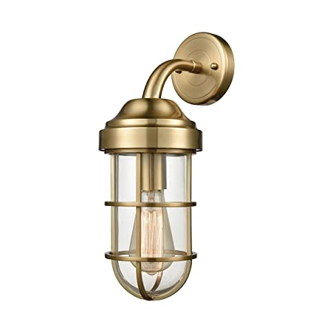 Elk lighting 66385 1 seaport one light wall sconce satin brass finish with