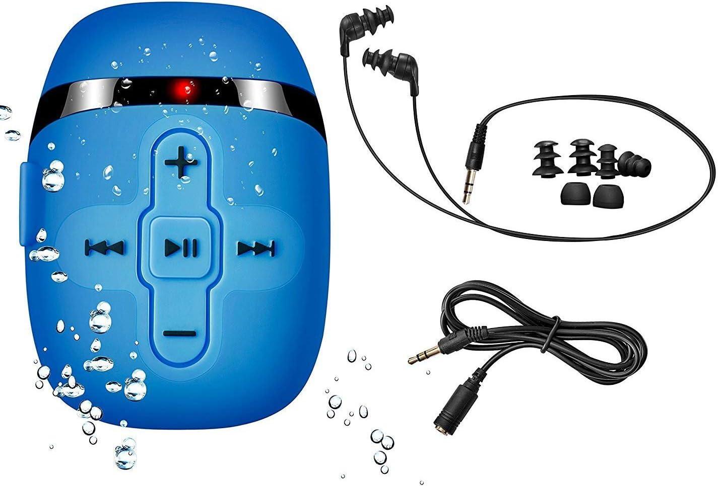 SEWOBYE 8GB de natación Reproductor de mp3 con Auriculares de Cable Corto (3 Tipo swimbuds), un Cable de extensión más de Audio para el Tipo de Deportes, Shuffle característica (Blue) (Light Blue)