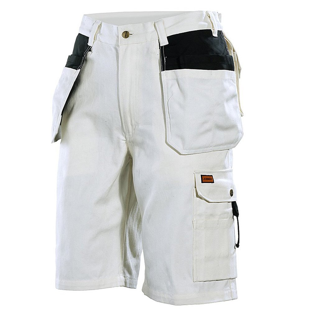 JOBMAN Workwear Men's Painter's Work Shorts White/Black 36 216011-1099-C52