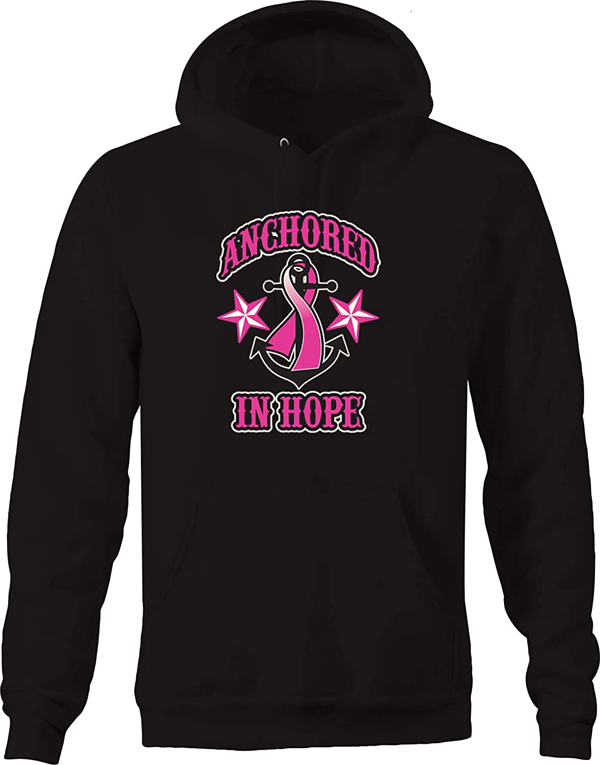 Lifestyle Graphix Anchoin Hope Breast Cancer Awareness Star Fighter Relentless Hoodies for Men
