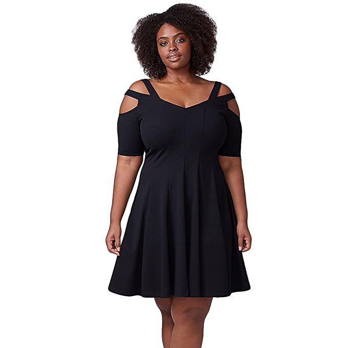 Vestidos mujeres V collar de manga corta Bustier XL Cintura alta una línea falda,negro