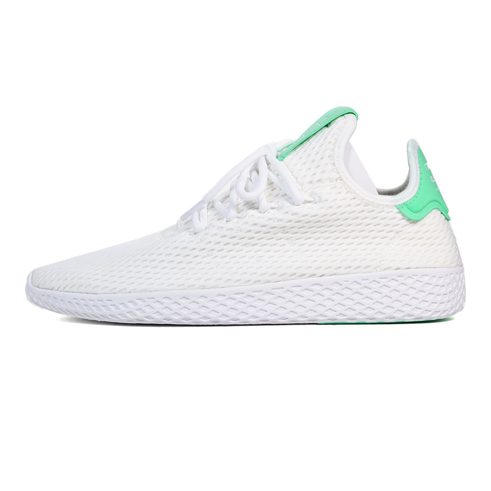 adidas PW Tennis Hu in White/Green Glow, 4.5