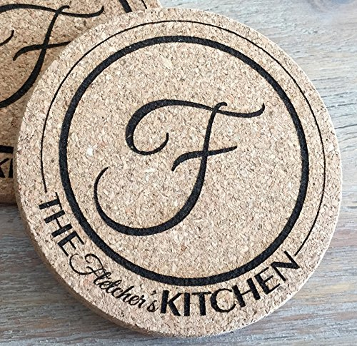 Personalized Cork Coasters for Drink Absorbent - Cool Coffee Table Monogram Coasters Wedding Gift (Fletcher Design, 1 Coaster)