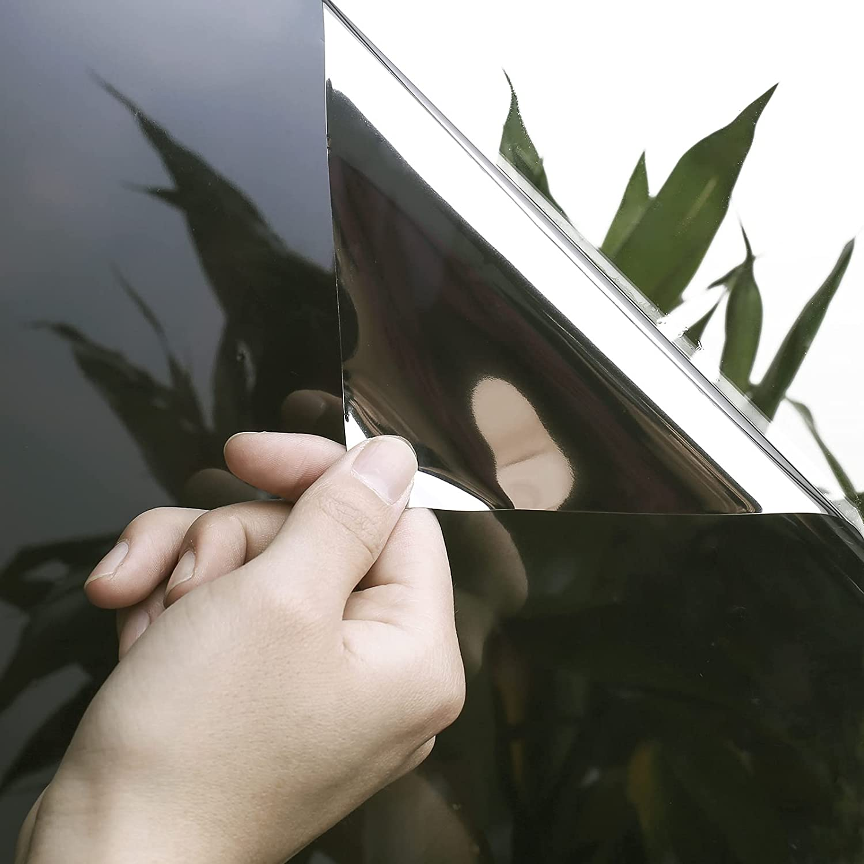 Window Privacy Film One Way CYPSIN 17.5 Inch x6.5 Feet Static Cling Heat Blocker Self Adhesive Mirror Window Tint for Home Office Bathroom,Black Silver