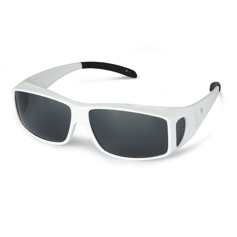 af83ba23738 Galleon - LVIOE Wrap Around Polarized Sunglasses Wear Over Regular  Prescription Glasses UV Protection For Men   Women Activities(white grey)