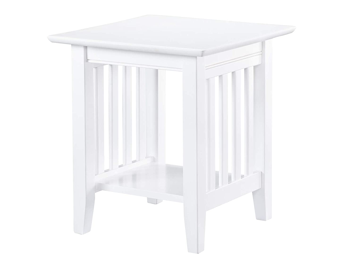 "Atlantic Furniture AH14202 Mission End Table 20"" x 20"", White"