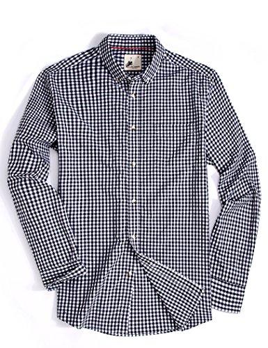 Menswear House MensCasualButtonDownPlaidShirtLongSleeve Cotton RegularFitDressShirts