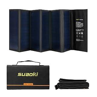 Suaoki - 40W Cargador Panel Solar (Placa Solar Pegable y Doblado 18V DC, 5V USB salida, Para Moviles, Tablets, Dispositivos Digitales)
