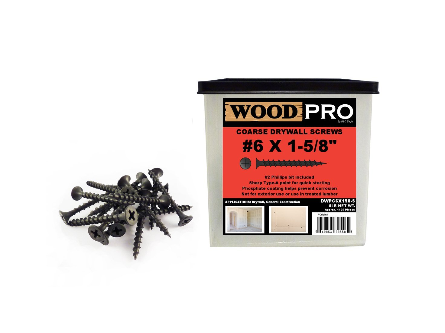 WoodPro Fasteners DWPC6X158-5 No 2 Phillips 5-Pound Net Weight 6 by 1-5/8-Inch Coarse Drywall Screws, 1105-Piece