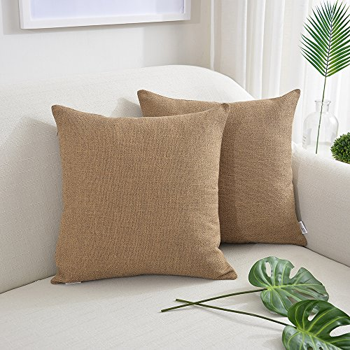 NATUS WEAVER 2 Pc Amazing Soft Linen Burlap Throw Pillow Cover Pliancy Decorative Accent Cushion Covers Lumbar Pillowcase, 16 x 16 inch, Coffee Brown