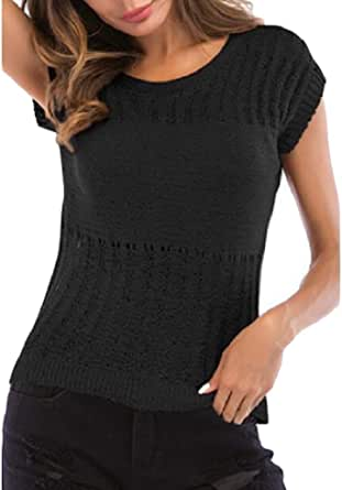 Macondoo Women Stretch Knitted Basic Hollow Crewneck Top Blouse T-Shirts