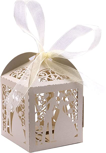 Prime Driewwedding 50Pcs Couple Design Wedding Bridal Favor Gift Candy Boxes Case Hollow Wrap Boxs Bag With Ribbon Party Table Decor Kit Treat Box Download Free Architecture Designs Embacsunscenecom