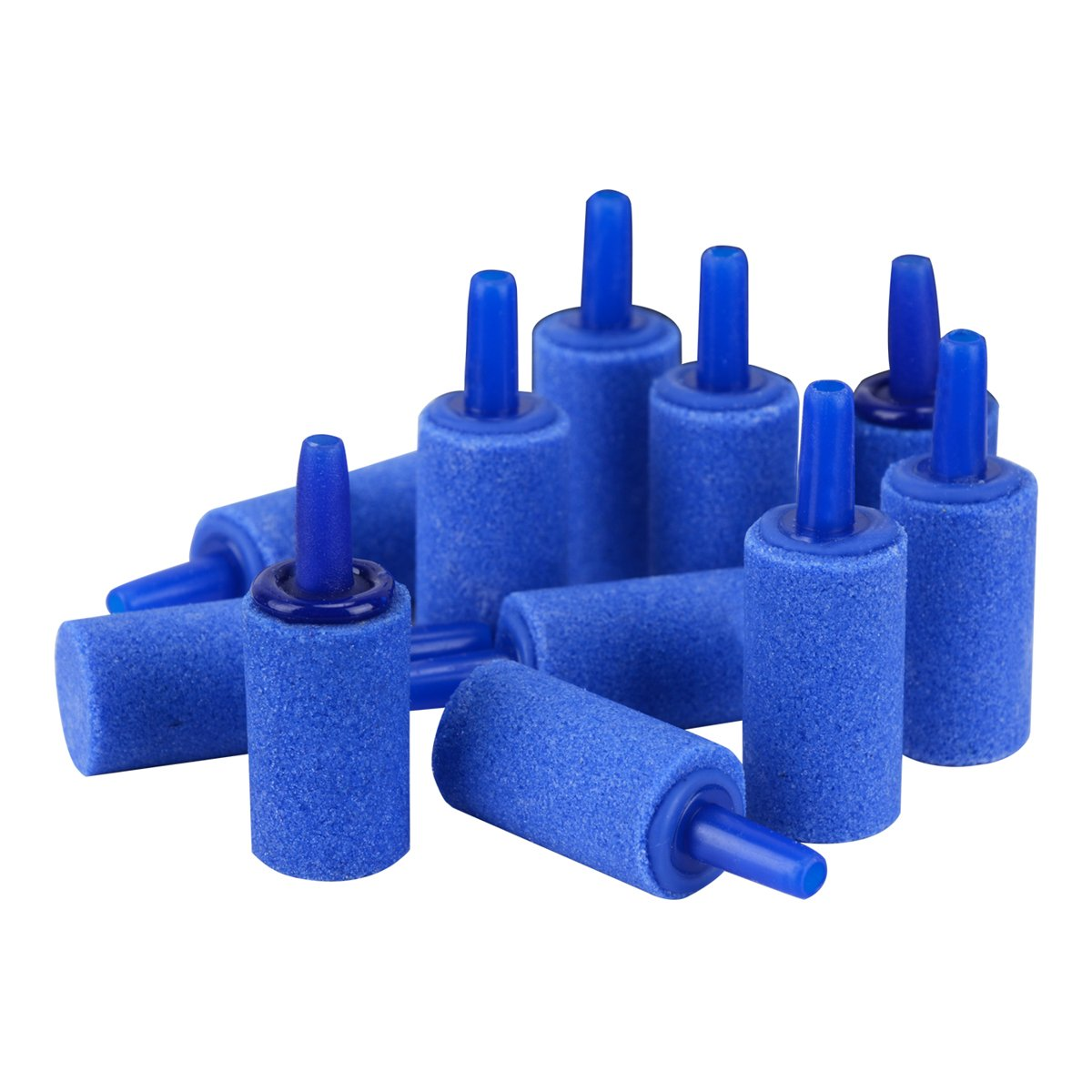 (12 PCS 1 ) Pawfly Air Stones Cylinder Bubble Diffuser Airstones for Aquarium Fish Tank Pump bluee