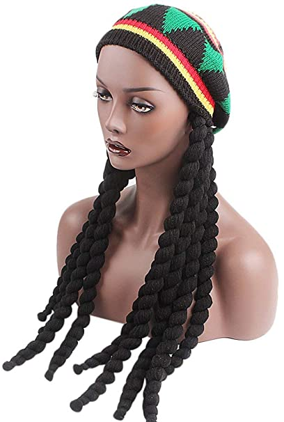 07d7e4fce0ed5 Image Unavailable. Image not available for. Color  Ababalaya Knitted Long  Braid Rasta Hat Reggae Marley Jamaica African Dreadlocks Cap Beanie