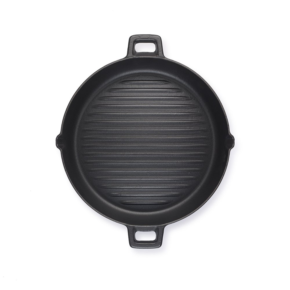 Essenso Convex Curved Base Cast Iron Grill Pan with 4-Layer Enamel Coating, Induction Compatible, 11.8'', Black by Essenso (Image #3)