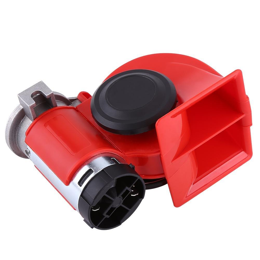 12V 130DB Dual Tone Trumpet Super Loud Electric Air Horn Snail Electric Pump Siren for Car Motorcycle Trucks Train SUV Vehicle Air Loud Horn