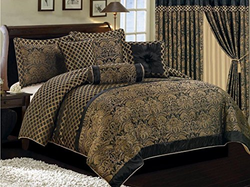 Collection Lisbon 7Pcs Jacquard Floral Comforter Set King, Black/Gold