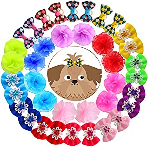 YOY 40pcs / 20 Pairs Adorable Grosgrain Ribbon Pet Dog Hair Bows with Rubber Bands – Puppy Topknot Cat Kitty Doggy Grooming Hair Accessories Bow Knots Headdress Flowers Set for Groomer