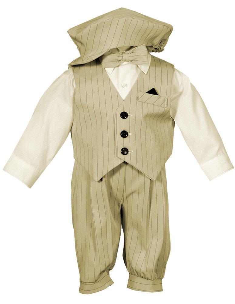 Toddler Boys Knicker Set with Vest and Hat - Vintage Sand/Black Stripe 2T