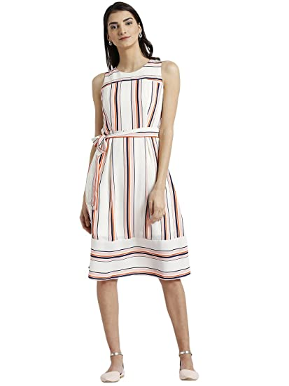 f769669d302 Zink London Beige Striped with Back Keyhole A-Line Dress for Women (Small)