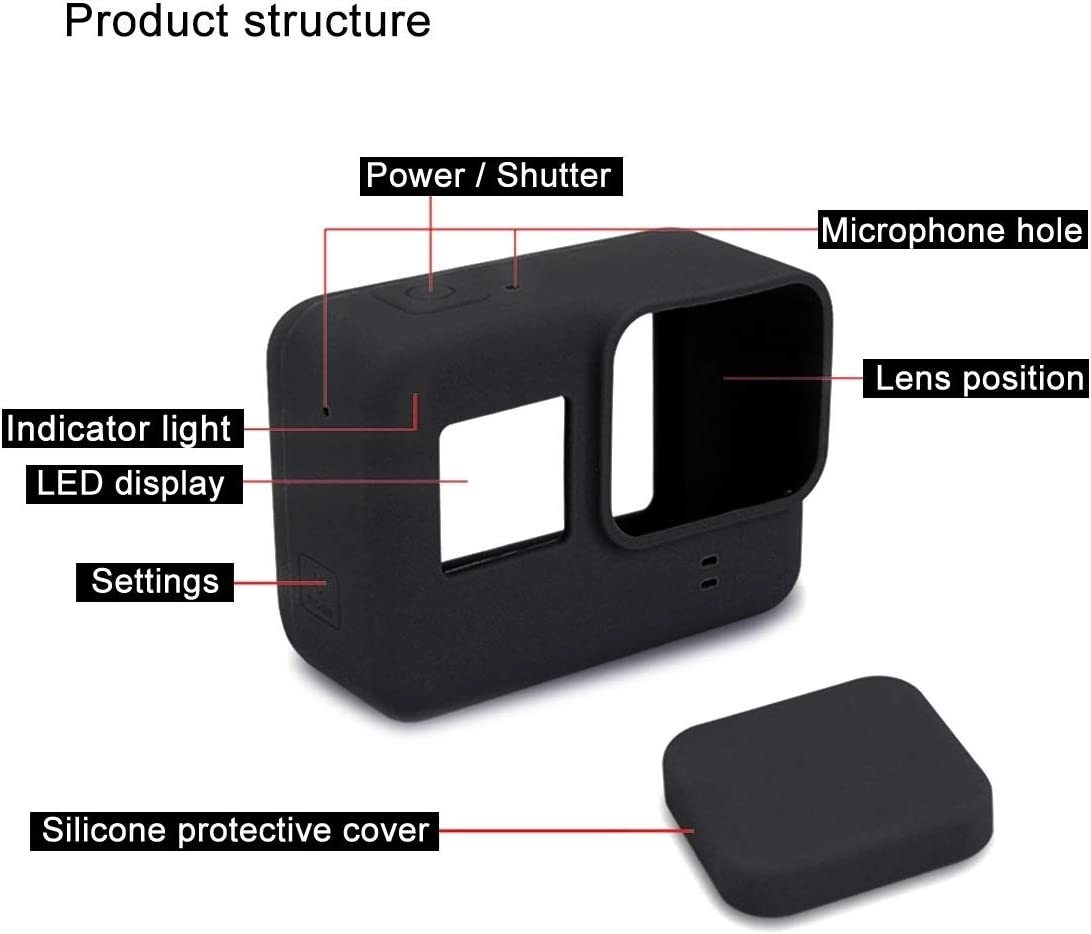 MEETBM ZIMO,Silicone Protective Case with Lens Cover for GoPro HERO7 Black //7 White Color : Black Black 7 Silver //6//5
