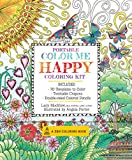 Portable Color Me Happy Coloring Kit: Includes Book, Colored Pencils and Twistable Crayons (A Zen Coloring Book)