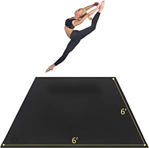 GXMMAT Large Yoga Mat 6'x6'x7mm, Thick Workout Mats for Home Gym Flooring, Extra Wide and Thick, Non-Slip QuickResilientBarefoot Exercise Mat, Ultra Comfortable Cardio Mat for Pilates, Stretching