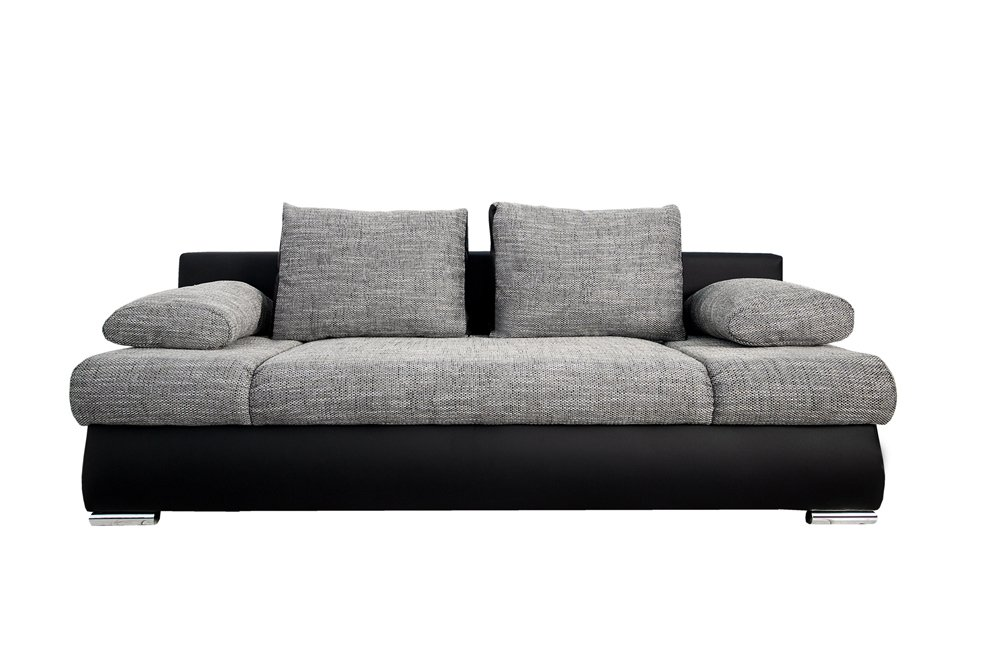Stylisches Design Schlafsofa ORLANDO grau-schwarz Strukturstoff ...