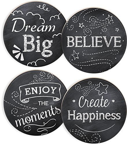 Inspirational Coasters - Angelstar 13422 Chalkboard Round 4 Piece Coaster Set, 4