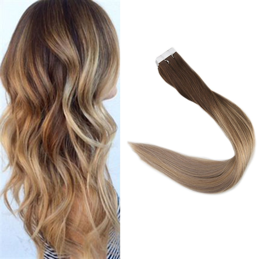 Full Shine Balayage Tape In Hair Extensions 16 Inch Dark Brown 4 To