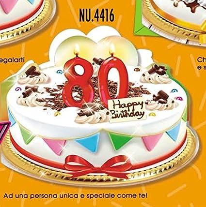 Subito Disponibile Biglietto Auguri Compleanno 80 Anni A Forma Di