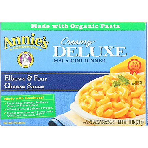 Annies Homegrown Macaroni Dinner - Creamy Deluxe - Elbows and Four Cheese Sauce - 10 oz - case of - Creamy Deluxe Elbows