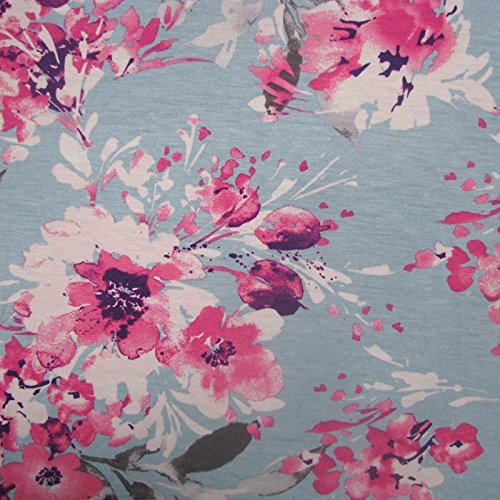 - Eggshell Blue Pink Flowers Printed on Rayon Spandex Jersey Knit Fabric