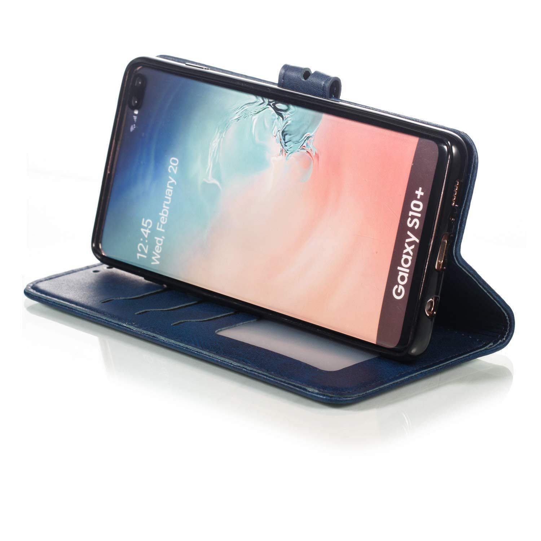 Tosim Coque Galaxy S10+ Portefeuille /Étui en Cuir Synth/étique Fonction Stand Case Housse Folio /à Rabat Compatible avec Samsung Galaxy S10+ //G975F TOXLI010340 Noir S10 Plus