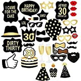 30th Birthday Photo Booth Props, BizoeRade 36pcs Funny Birthday Props Kit for Him or Hers,Moustache,Red Lips,Glasses, Cake, Hat