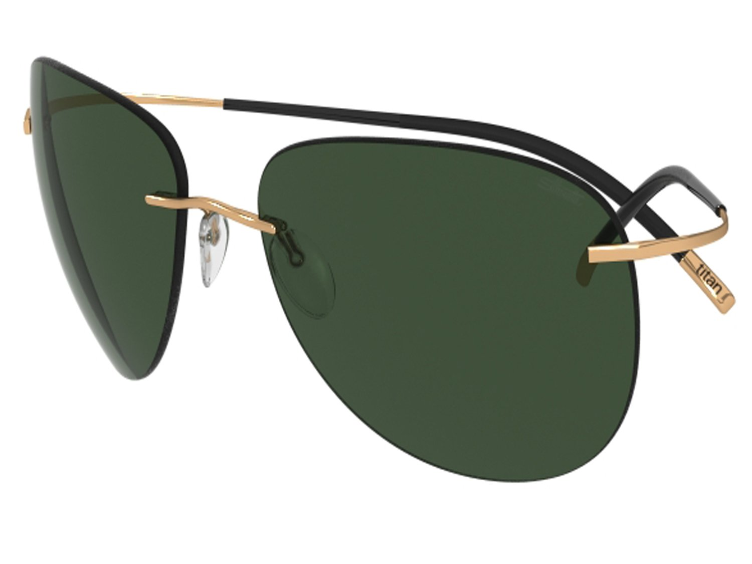 Silhouette Sunglasses Titan Minimal ART The Icon 8697 medium to large fit (gold shiny / green lenses) by SILHOUETTE optical