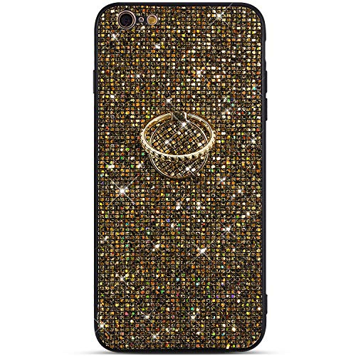PHEZEN Case for iPhone 6 Plus/6S Plus Case Glitter Bling Shiny Diamond Rhinestone TPU Silicone Case Rubber Skin with Kickstand Ring Stand Shockproof Bumper Girls Women Case for iPhone 6 Plus, Gold