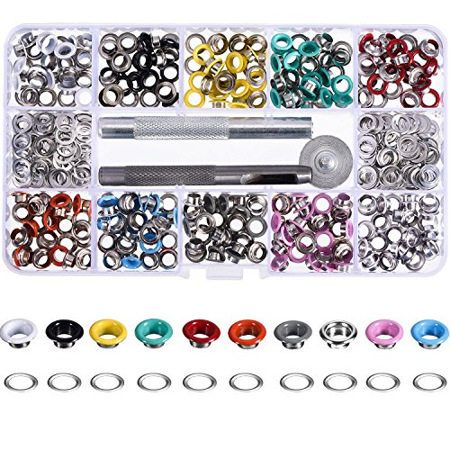 Red Grommets (Bememo 300 Pieces 3/ 16 Inch Grommets Kit Metal Eyelets Shoes Clothes Crafts, 10 Colors)