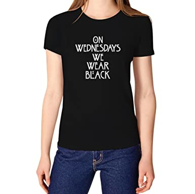 Amazon.com: TeeStars Women's - On Wednesdays We Wear Black T-shirt ...