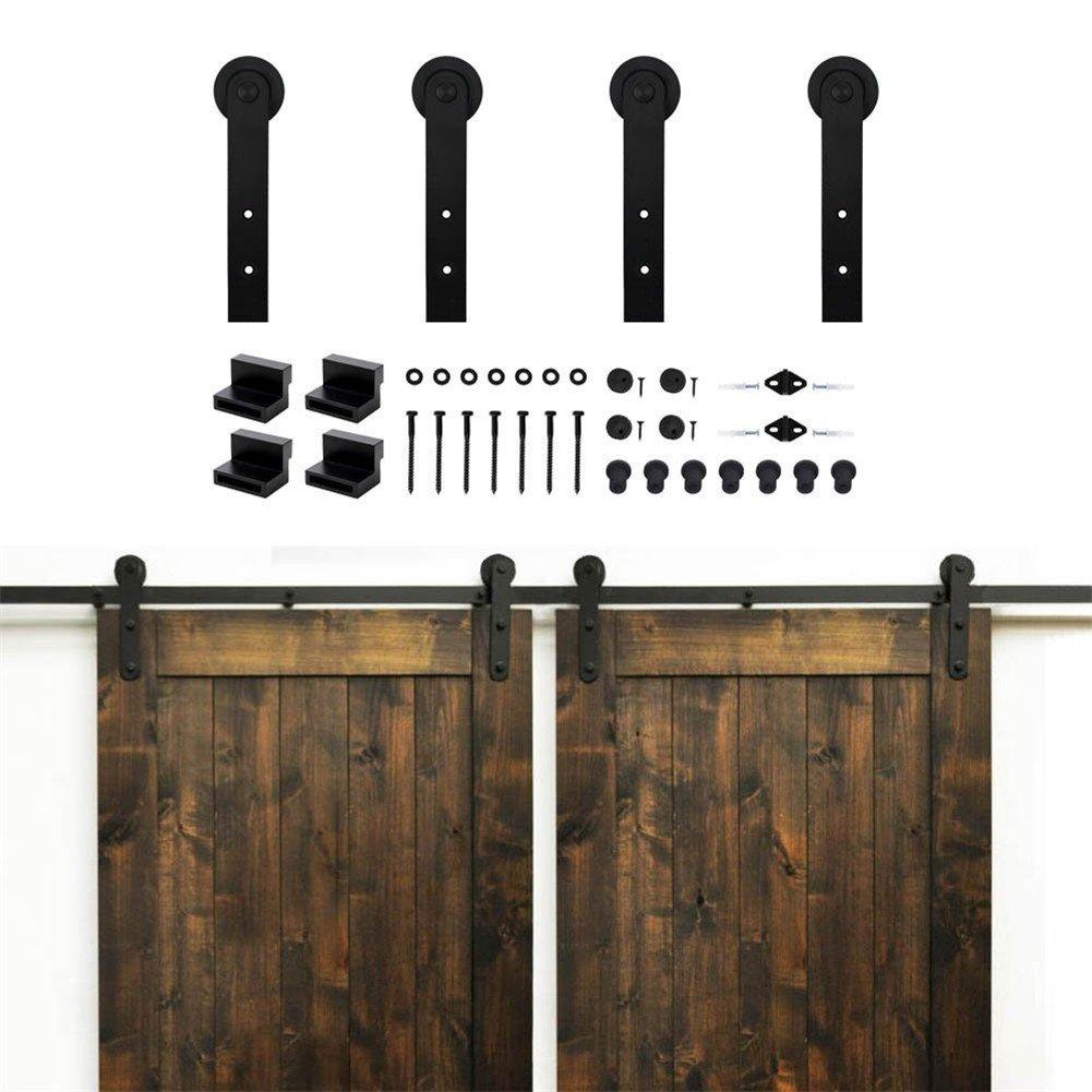 KIRIN Country Simple Life Style Flat Shape Sliding Barn Door Hardware Double Doors Hardware Kit (14FT)