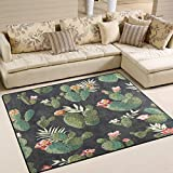 ALAZA Vintage Cactus Flower Watercolor Area Rug Rugs for Living Room Bedroom 5'3 x 4′