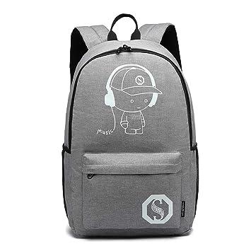 Kono Mochila Escolar Durable, Mochila para portátil de 15.6 Pulgadas para Mujeres y Hombres, Mochila Impermeable de Escuela Animada Anime en Gris: ...