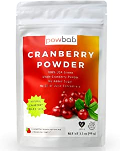 powbab Cranberry Powder from 100% USA Grown Organic Dried Cranberries. No Added Sugar. Pure Fruit, Unsweetened Cranberry Supplement for Urinary Tract Health for Women. Not Freeze Dried. (3.5 Oz)