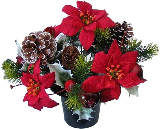 Grave Pot Flowers Artificial Silk Floral Arrangement Memorial Tribute Faux Rose