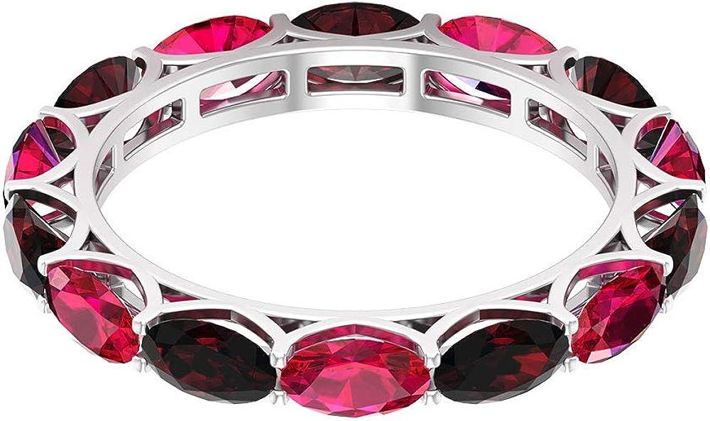 Anillo de 2,45 quilates de rubí, anillo de granate ovalado de 2,45 ct 5 x 3 mm, anillo de boda de eternidad flotante, anillo de piedra natal de julio, 18K Oro