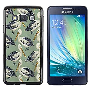 Be Good Phone Accessory // Dura Cáscara cubierta Protectora Caso Carcasa Funda de Protección para Samsung Galaxy A3 SM-A300 // Stork Green Nature Summer Bird Pattern