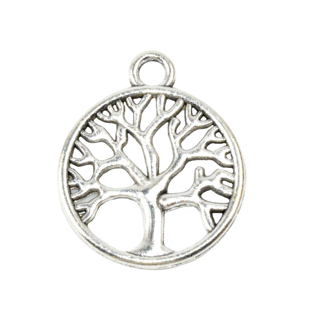 50pcs Tree Silver YYaaloa Pack of 50 Tree of Life Charms Pendants 24mm x20mm DIY Antique Charms Pendant for Crafting Bracelet Necklace Jewelry Findings Jewelry Making Accessory